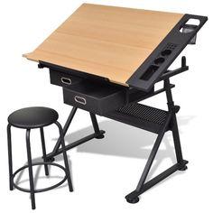 mesa de dibujo oscilante con cajones y taburete