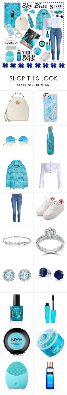 """Sky Blue"" by mxogirl ❤ liked on Polyvore featuring Gucci, Casetify, Illesteva, Ienki Ienki, H&M, Bliss Diamond, Kiki mcdonough, Bling Jewelry, Rimmel and NYX"