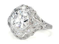 1930s vintage platinum diamond filigree mount engagement ring