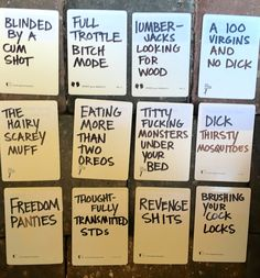 Hilarious and creative ideas for blank cards in cards of humanity game or DIY your own deck of cards against humanity Cards Against Humanity Printable, Diy Cards Against Humanity, Funniest Cards Against Humanity, Cards Of Humanity, Girls Night Out Games, Adult Game Night Party, Adult Party Games, Halloween Party Games