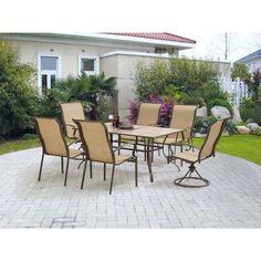 Mainstays York 7-Piece Patio Garden Furniture Dining Set Seats 6