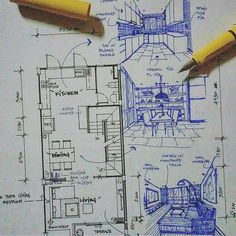 Likes, 156 Comments - Architecture - Daily Sketches ( on Instag. Interior Design Sketches, Interior Rendering, Sketch Design, Drawing Interior, Architecture Drawings, Art And Architecture, Architecture Visualization, Classical Architecture, Technical Drawing