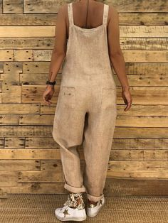 Buy Casual Women's Fashion Strap Sleeveless Rompers Solid Color Loose Long Jumpsuits Overalls at Wish - Shopping Made Fun Blouse En Coton, Mini Robes, Collor, Long Jumpsuits, Estilo Boho, Overall, Playsuit, Pattern Fashion, Casual Dresses