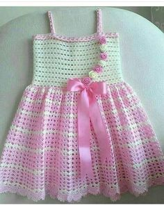 Easy Child Gilet with Crochet Skirt with Crochet Flower and Ribbon Embellishment . Crochet Baby Dress Free Pattern, Baby Booties Knitting Pattern, Knit Vest Pattern, Baby Girl Crochet, Baby Knitting, Crochet Patterns, Moda Crochet, Crochet Shell Stitch, Knitting Videos