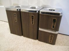 Mid Century Modern Brown Metal Canister Set by happykristen, $25.00