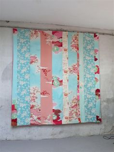 kimono bedspread hanging on the wall in my atelier