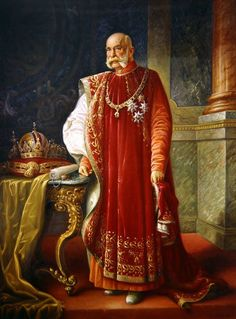 The Emperor Francis Joseph of Austria-Hungary dressed in the robes and chain of the Grand Master of the Order of the Golden Fleece. Probably painted near or at the end of his 68 year reign. Note the crowns of Austria and Hungary on the left side of the painting.