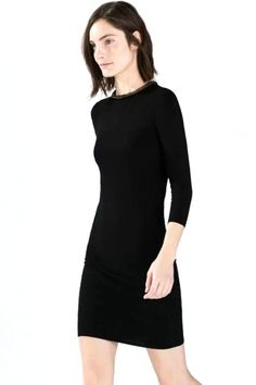 Chic Sequined Neck Deco Solid Shift Medi Dress