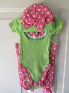 Gerber Newborn 3 Piece Outfit Onsie Leggings Beanie Short Sleeve 5-8 LBS #Gerbers #Everyday