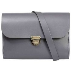 N'Damus London - Helena Grey Leather Satchel ($120) ❤ liked on Polyvore featuring bags, handbags, leather satchel purse, leather crossbody handbags, satchel purses, leather handbags and leather cross body handbags