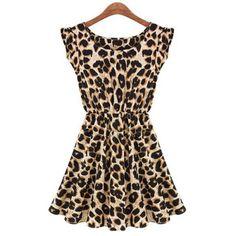 Women's Leisure Slim Fit Leopard Print Dress, LEOPARD, M in Dresses 2014 | DressLily.com