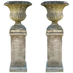 Relics, Sculpture, Motifs for the Home :     English Weathered Urns on Bases | From a unique collection of antique and modern urns at www.1stdibs.com/…    -Read More –   - #Sculptures
