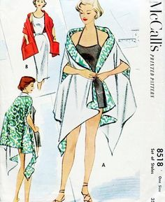 1950s UNIQUE Set of Stoles Pattern McCalls 8518 Fantastic Cape Stole Version Evening or Beach Wear 2 Styles One Size Vintage Sewing Pattern UNCUT