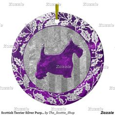 Scottish Terrier Silver Purple Glass Look Ceramic Ornament