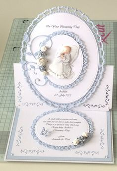 Christening card Boy Cards, New Baby Cards, Kids Cards, Confirmation Cards, Baptism Cards, Christening Card, Spellbinders Cards, Christian Cards, Beautiful Handmade Cards