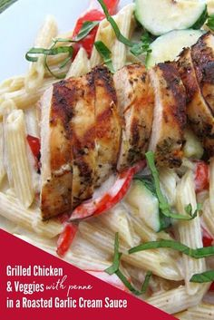Grilled Chicken and Grilled Veggies with Penne Pasta in a Roasted Garlic Cream Sauce with Fresh Basil. The Perfect Summer Pasta Dish! Easy Chicken Dinner Recipes, Yummy Pasta Recipes, Best Chicken Recipes, Healthy Crockpot Recipes, Real Food Recipes, Grilled Recipes, Duck Recipes, Turkey Recipes, Delicious Recipes