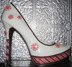 white patent heels with peppermints, striping and rhinestones with glittered soles Us Patent, Patent Heels, Christmas Shoes, Ribbon Wrap, Unique Shoes, Crystal Rhinestone, Peppermint, Stripes, Pairs