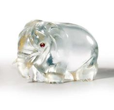 A RUSSIAN ROCK-CRYSTAL MODEL OF AN ELEPHANT BY FABERGÉ, CIRCA 1890 Humorously carved, with red stone eyes. FROM THE COLLECTION OF KING GEORGE I OF THE HELLENES Christie's.