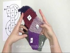 DROPS Technique Tutorial: How to assembly slippers with squares after a chart - YouTube - very clever