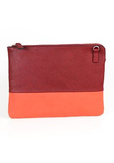 Color Block Zip Clutch: Burgundy [4067-BUR] - $32.99 : Spotted Moth, Chic and sweet clothing and accessories for women