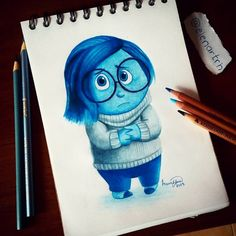 Sadness by on DeviantArt Pencil Art Drawings, Kawaii Drawings, Colorful Drawings, Cartoon Drawings, Drawing Sketches, Disney Princess Drawings, Disney Sketches, Disney Drawings, Arte Disney