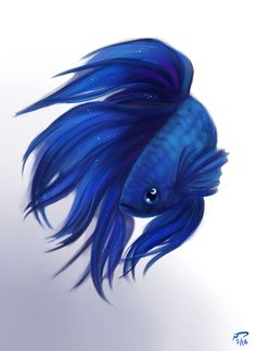 Moon Betta by *Majoh on deviantART Beta Fish Drawing, Fish Drawings, Animal Drawings, Art Drawings, Watercolor Fish, Watercolor Paintings, Fish Paintings, Betta Fish Tattoo, Siamese Fighting Fish