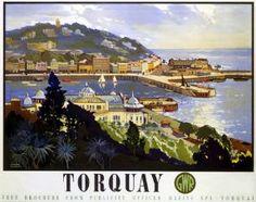 English Railway Travel Poster Print, Torquay England by GWR, Pavillion, Princess Gardens, Harbour. www.ilovesouthdevon.com
