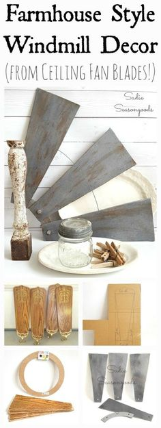 DIY Home Decor Outdated ceiling fan blades repurposed and upcycled into DIY farmhouse style salvaged windmill decor by Sadie Seasongoods / www.sadieseasongo… by acultivatednest Diy Home Decor Rustic, Handmade Home Decor, Cheap Home Decor, Country Decor, Upcycled Home Decor, Decor Diy, Repurposed Items, Modern Decor, Home Decor Accessories