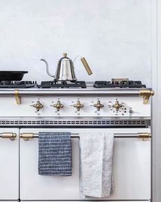 Lacanche Stove in Beth Kirby's Kitchen // Photographed by Local Milk // Linen Dish Towels and Cast Iron