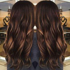 dark brown hair with caramel babylights Chocolate Brown Hair Color, Chocolate Hair, Brown Hair With Highlights, Brown Hair Colors, Asian Highlights, Color Highlights, Balayage Highlights, Peekaboo Highlights, Natural Highlights