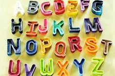 Homemade alphabet crayons by Let's Explore