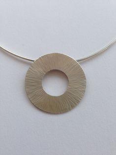 Large hammered pendant, Sterling Silver