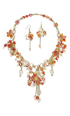 Jewelry Design - Single-Strand Necklace and Earring Set with Swarovski Crystal Beads, Cultured Freshwater Pearls and Gold-Plated Beads and Jumprings - Fire Mountain Gems and Beads