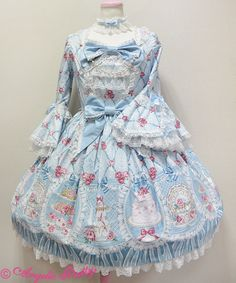 Salon de the' Rose one piece - sax blue | #AngelicPretty #AP #OP #Dress #Lolita