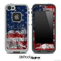 Vintage American Flag Skin for the iPhone 4/4s or 5 LifeProof Case on Etsy, $9.99