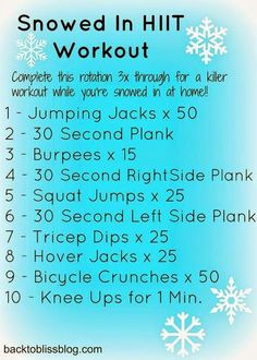 High Intensity Interval Training (HIIT) workout to do indoors on snow days! No equipment needed! Killer Workouts, Fun Workouts, At Home Workouts, Workout Ideas, Workout Plans, Treadmill Workouts, Cardio, Fitness Tips, Fitness Motivation