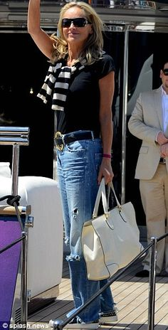 Sharon Stone at Cannes - like the tote and the jeans with black t.