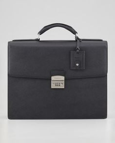 Remark Leather Briefcase with Combo Lock, Black by Dolce & Gabbana at Neiman Marcus.