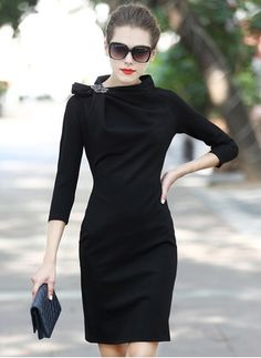 Cotton Solid 1008449/1008449 Sleeves Above Knee Elegant Dresses (1008449) @ floryday.com