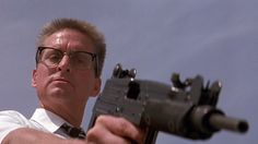 """Often overlooked film """"Falling Down"""" with awesome performances by Michael Douglas and Robert Duvall. Douglas' protagonist hates how the food industry misrepresents their products with inaccurate photos. Truth in advertising. Saint Yves, Hd Movies, Movies Online, Breaking Bad Movie, Epic Film, Robert Duvall, Cinema, Bad Mood, Movie Posters"""