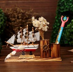 1Pcs/set Wooden sailboat Pen Holders Pencil Vase Wood Pen Container Of – Pitchy Wooden Delights