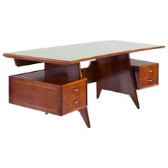 Fine Large Executive Italian Writing Desk by Dassi, 1955 Modern Desk, Mid Century Modern Furniture, Mid-century Modern, Fine Furniture, Furniture Design, Wall Dining Table, Old Tables, Desk Styling, Mid Century Desk