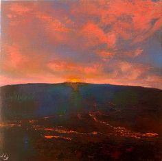 Till the Last Ray Gleams II, John O'Grady - www.johnogradypaintings.com - a sunset showing off its last flamboyance.