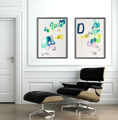 Large abstract painting 39 on paper. Aqua Blue mint by DUEALBERI