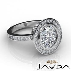 Halo Pave Set Oval Shape Diamond GIA I SI1 18K White Gold Engagement Ring 2 75ct | eBay