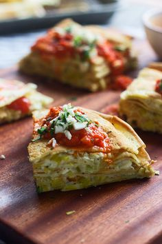 Creamy Feta & Leek Stacked Crepes with Roasted Red Pepper Sauce
