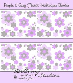 Purple floral wallpaper border wall art decals for baby girl ...