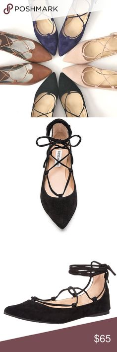 ▪️ SALE ▪️Steve Madden Eleanor Suede Lace Up Flats Steve Madden Eleanor Suede Lace Up Flats in black featuring pointy toe.  Blogger babe fave!  Add a trendy twist to your ordinary flats!  Rubber sole.  NWT, never worn!  ▪️ PM Editor Pick!▪️      ▪️SALE! $65 marked down to $55▪️ Steve Madden Shoes