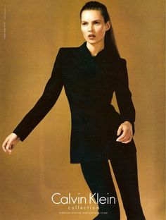 armuredetissu:        Kate Moss for Calvin Klein F/W 1997        90s minimal power suit at its very finest