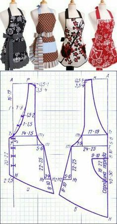 Tuto : Comment Faire tablier de cuisine – … Tuto: How to Make Kitchen Apron – 'Or' What Sewing Aprons, Dress Sewing Patterns, Sewing Patterns Free, Free Sewing, Sewing Clothes, Clothing Patterns, Diy Clothes, Retro Apron Patterns, Apron Pattern Free